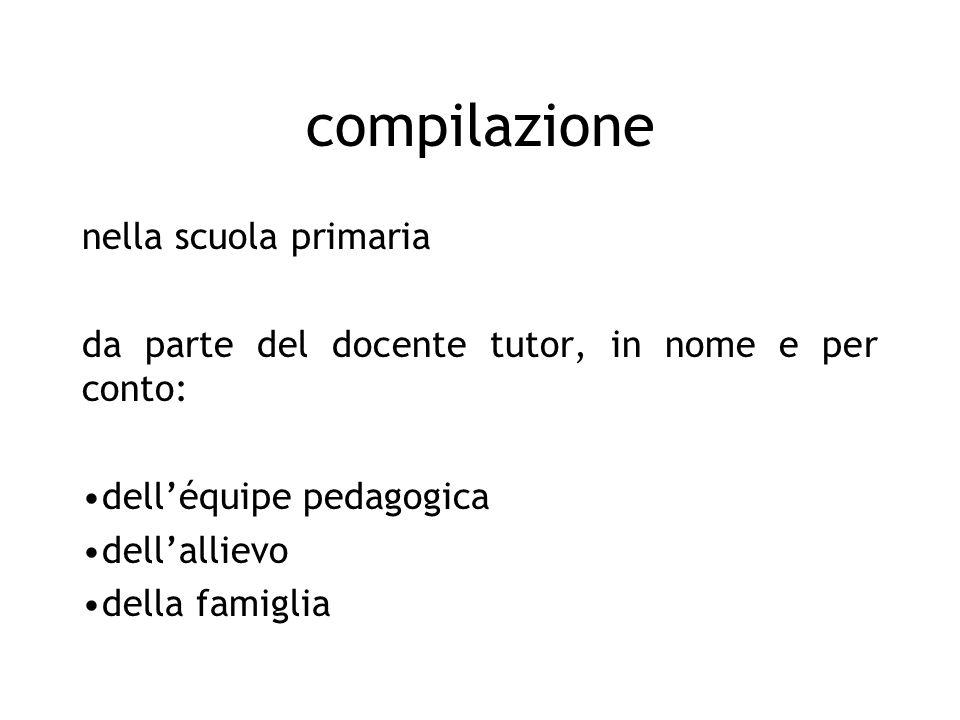 compilazione nella scuola primaria da parte del docente tutor, in nome e per conto: delléquipe pedagogica dellallievo della famiglia