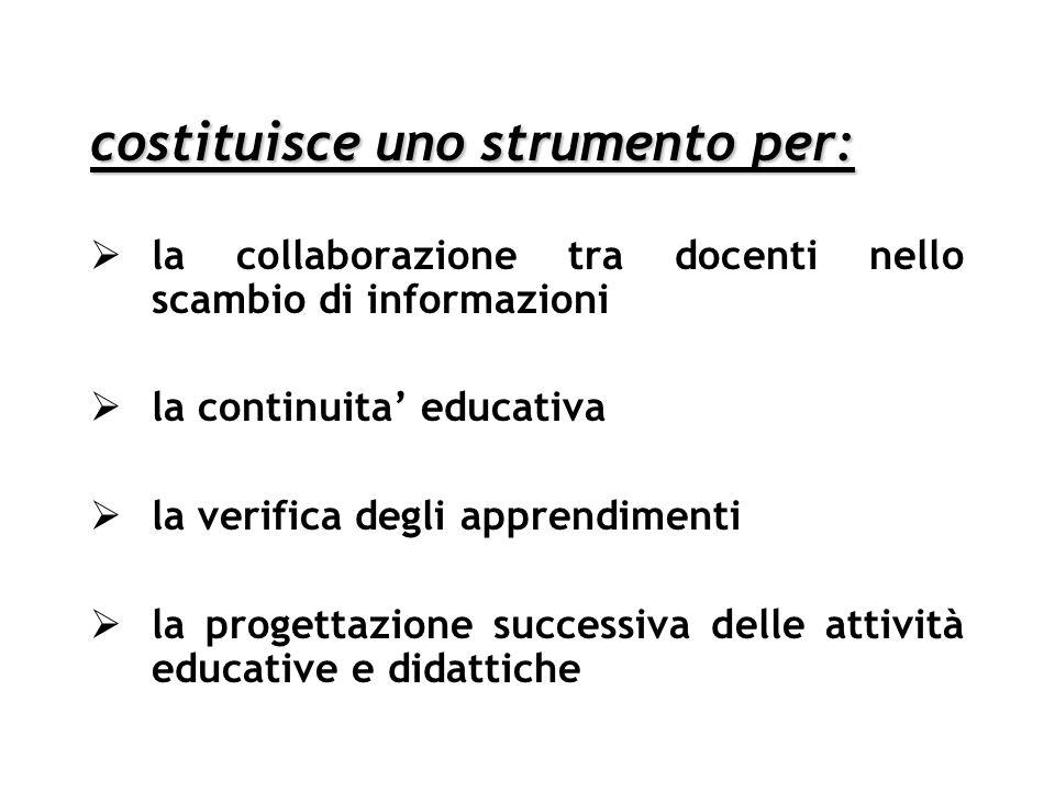 costituisce uno strumento per: la collaborazione tra docenti nello scambio di informazioni la continuita educativa la verifica degli apprendimenti la