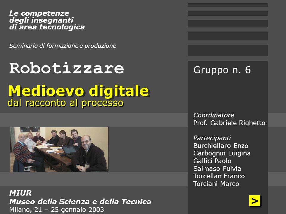 Robotizzare MIUR Museo della Scienza e della Tecnica Milano, 21 – 25 gennaio 2003 Le competenze degli insegnanti di area tecnologica Seminario di form