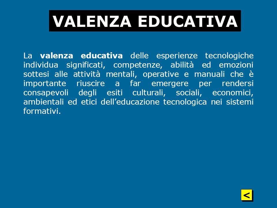 La valenza educativa delle esperienze tecnologiche individua significati, competenze, abilità ed emozioni sottesi alle attività mentali, operative e m