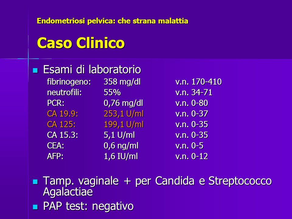 Endometriosi pelvica: che strana malattia Caso Clinico Diagnostica per immagini Diagnostica per immagini –Ecografia –RM –TC