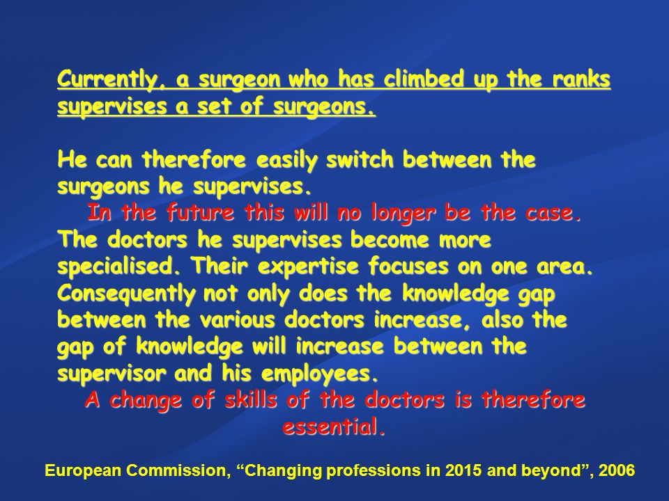 Currently, a surgeon who has climbed up the ranks supervises a set of surgeons. He can therefore easily switch between the surgeons he supervises. In