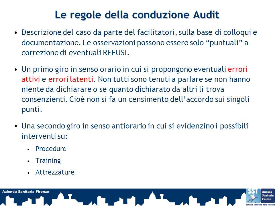 Le regole della conduzione Audit Descrizione del caso da parte del facilitatori, sulla base di colloqui e documentazione. Le osservazioni possono esse