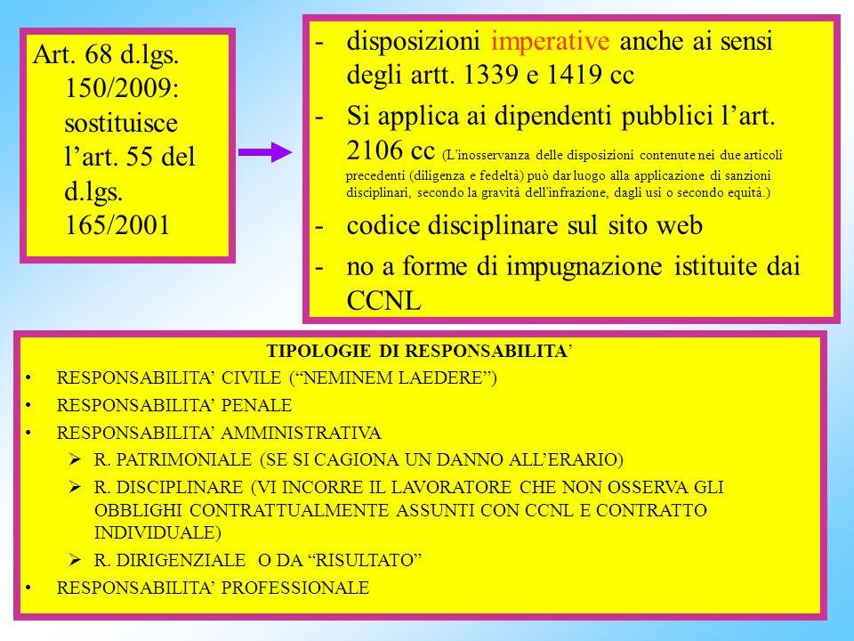 10 Art. 68 d.lgs. 150/2009: sostituisce lart. 55 del d.lgs. 165/2001 -disposizioni imperative anche ai sensi degli artt. 1339 e 1419 cc -Si applica ai
