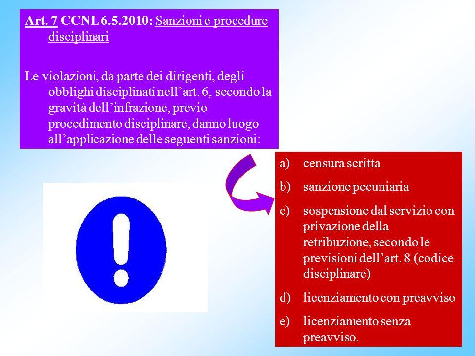 20 Art. 7 CCNL 6.5.2010: Sanzioni e procedure disciplinari Le violazioni, da parte dei dirigenti, degli obblighi disciplinati nellart. 6, secondo la g