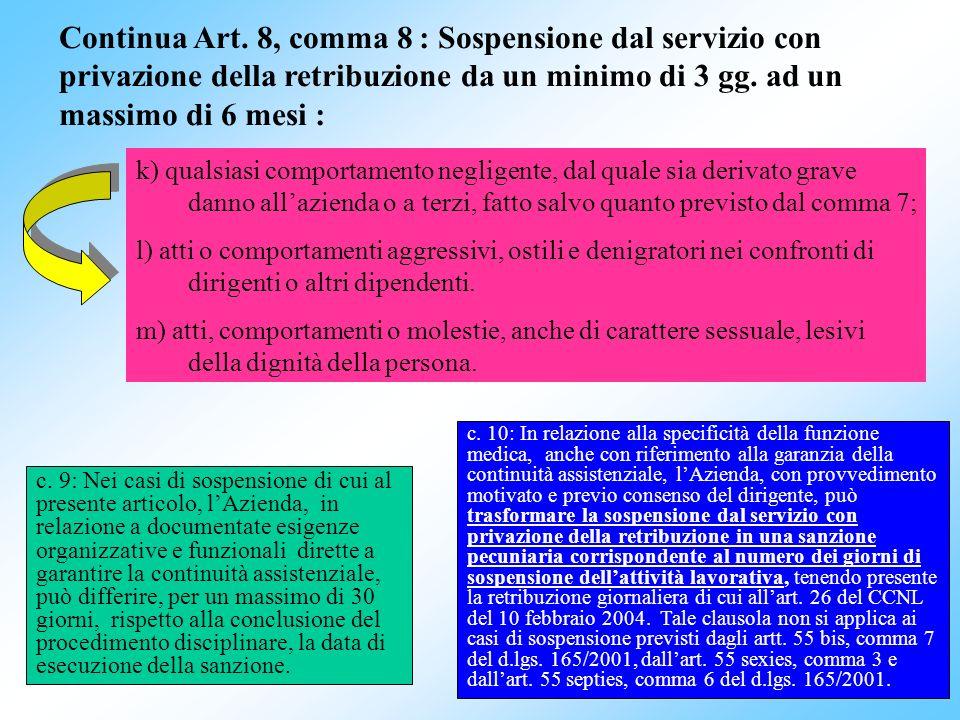 30 k) qualsiasi comportamento negligente, dal quale sia derivato grave danno allazienda o a terzi, fatto salvo quanto previsto dal comma 7; l) atti o