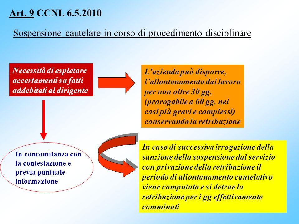 36 Art. 9 CCNL 6.5.2010 Sospensione cautelare in corso di procedimento disciplinare Necessità di espletare accertamenti su fatti addebitati al dirigen