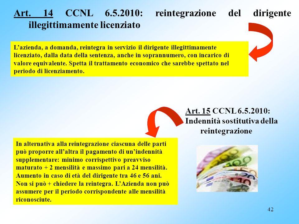 42 Art. 14 CCNL 6.5.2010: reintegrazione del dirigente illegittimamente licenziato Lazienda, a domanda, reintegra in servizio il dirigente illegittima