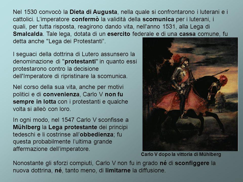 Nel 1530 convocò la Dieta di Augusta, nella quale si confrontarono i luterani e i cattolici. Limperatore confermò la validità della scomunica per i lu