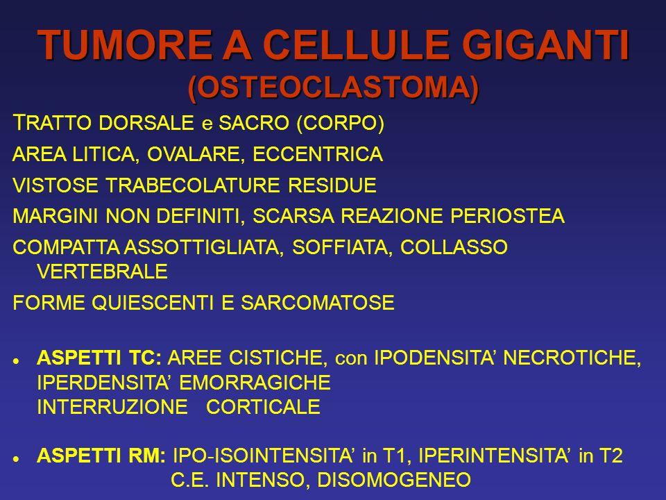 TUMORE A CELLULE GIGANTI (OSTEOCLASTOMA) T RATTO DORSALE e SACRO (CORPO) AREA LITICA, OVALARE, ECCENTRICA VISTOSE TRABECOLATURE RESIDUE MARGINI NON DEFINITI, SCARSA REAZIONE PERIOSTEA COMPATTA ASSOTTIGLIATA, SOFFIATA, COLLASSO VERTEBRALE FORME QUIESCENTI E SARCOMATOSE ASPETTI TC: AREE CISTICHE, con IPODENSITA NECROTICHE, IPERDENSITA EMORRAGICHE INTERRUZIONE CORTICALE ASPETTI RM: IPO-ISOINTENSITA in T1, IPERINTENSITA in T2 C.E.
