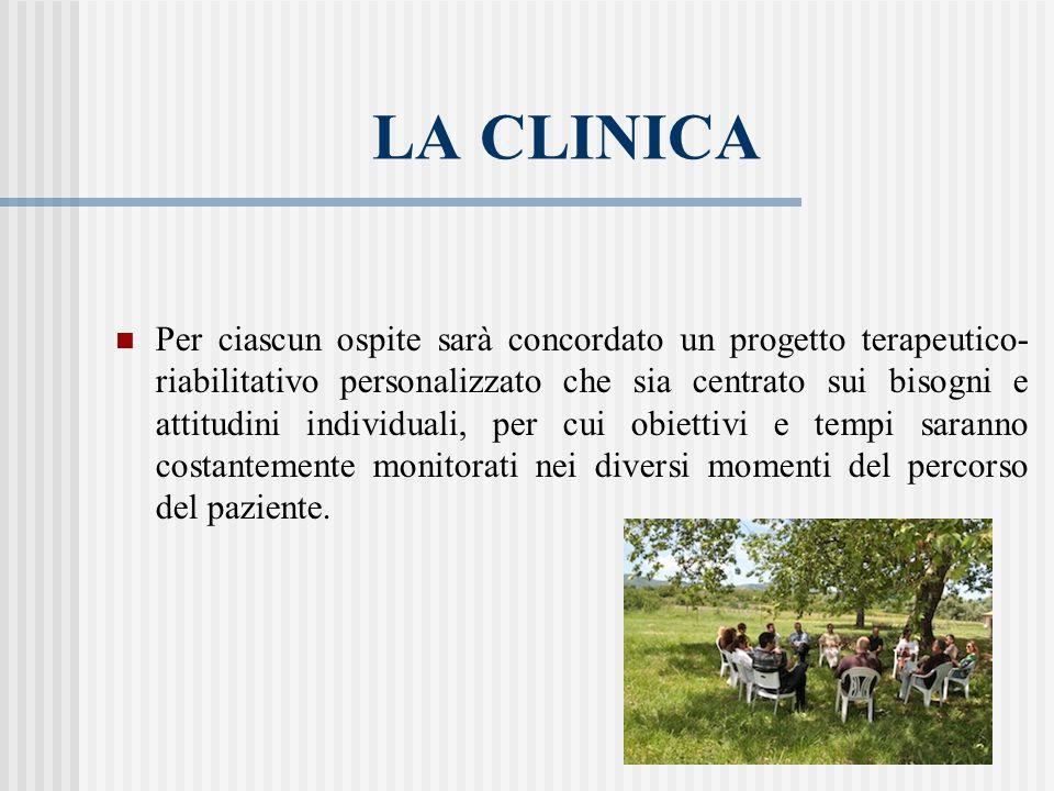LA CLINICA Per ciascun ospite sarà concordato un progetto terapeutico- riabilitativo personalizzato che sia centrato sui bisogni e attitudini individu