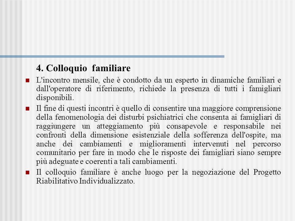 4. Colloquio familiare L'incontro mensile, che è condotto da un esperto in dinamiche familiari e dall'operatore di riferimento, richiede la presenza d