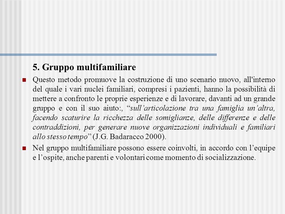 5. Gruppo multifamiliare Questo metodo promuove la costruzione di uno scenario nuovo, all'interno del quale i vari nuclei familiari, compresi i pazien