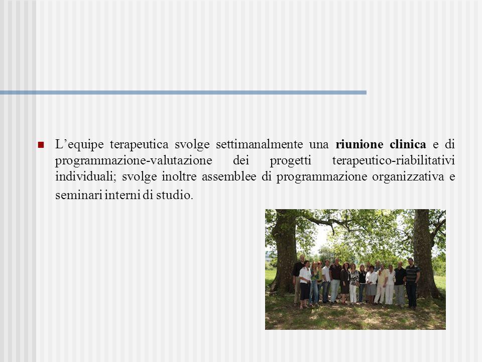 Lequipe terapeutica svolge settimanalmente una riunione clinica e di programmazione-valutazione dei progetti terapeutico-riabilitativi individuali; sv