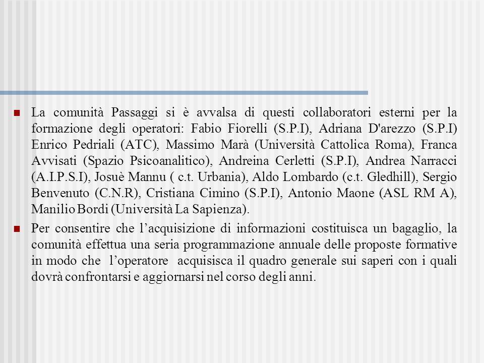 La comunità Passaggi si è avvalsa di questi collaboratori esterni per la formazione degli operatori: Fabio Fiorelli (S.P.I), Adriana D'arezzo (S.P.I)