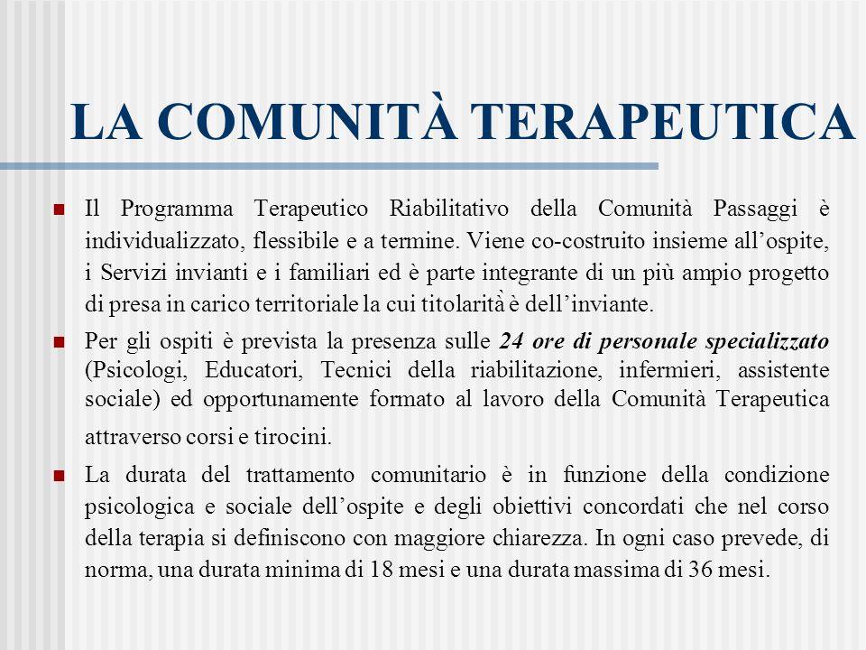 LA COMUNITÀ TERAPEUTICA Il Programma Terapeutico Riabilitativo della Comunità Passaggi è individualizzato, flessibile e a termine. Viene co-costrui