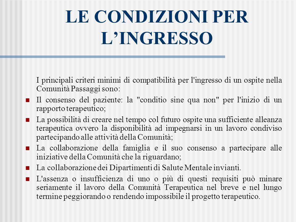 LE CONDIZIONI PER LINGRESSO I principali criteri minimi di compatibilità per l'ingresso di un ospite nella Comunità Passaggi sono: Il consenso del paz