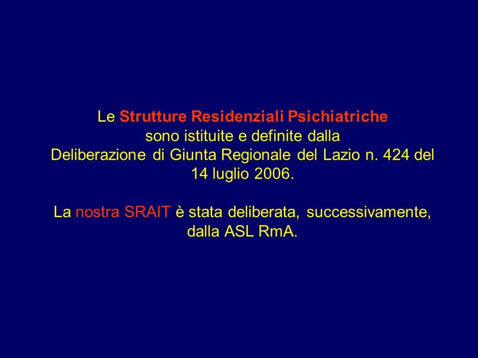 Le Strutture Residenziali Psichiatriche sono istituite e definite dalla Deliberazione di Giunta Regionale del Lazio n. 424 del 14 luglio 2006. La nost