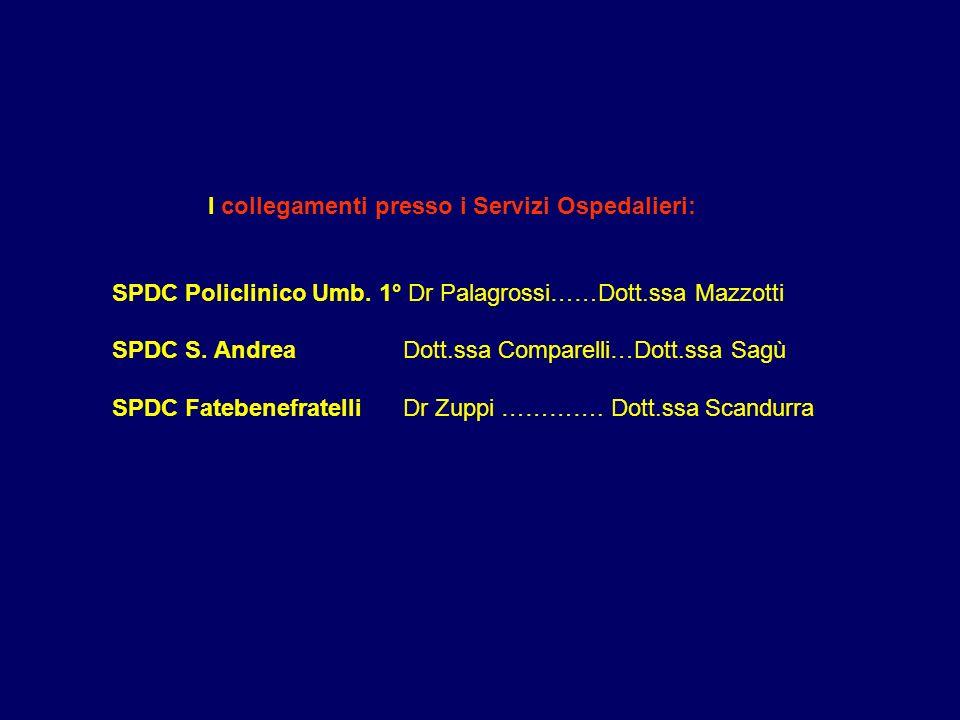 I collegamenti presso i Servizi Ospedalieri: SPDC Policlinico Umb. 1° Dr Palagrossi……Dott.ssa Mazzotti SPDC S. Andrea Dott.ssa Comparelli…Dott.ssa Sag