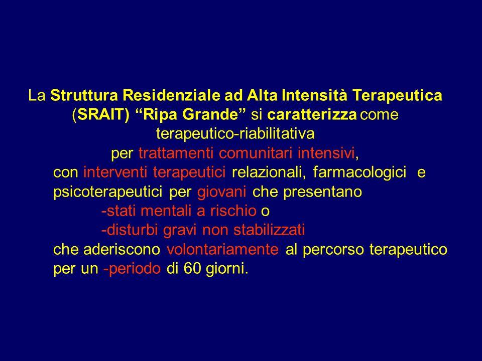 La Struttura Residenziale ad Alta Intensità Terapeutica (SRAIT) Ripa Grande si caratterizza come terapeutico-riabilitativa per trattamenti comunitari