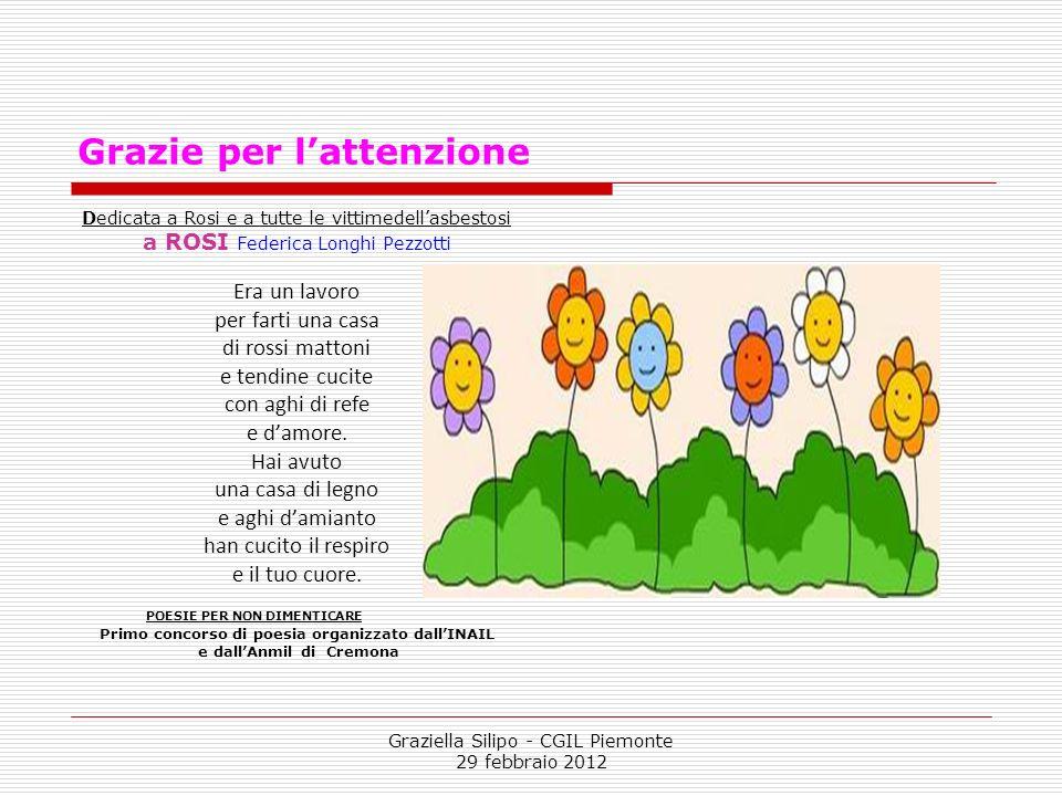 Graziella Silipo - CGIL Piemonte 29 febbraio 2012 Grazie per lattenzione Dedicata a Rosi e a tutte le vittimedellasbestosi a ROSI Federica Longhi Pezz
