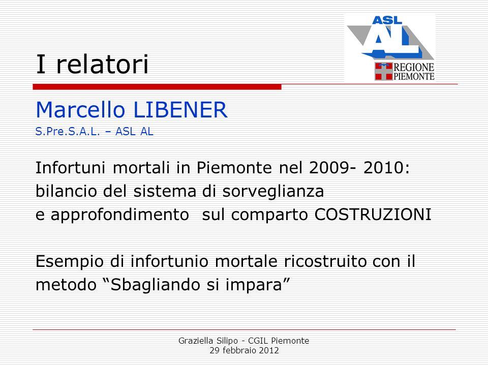 Graziella Silipo - CGIL Piemonte 29 febbraio 2012 I relatori Marcello LIBENER S.Pre.S.A.L. – ASL AL Infortuni mortali in Piemonte nel 2009- 2010: bila