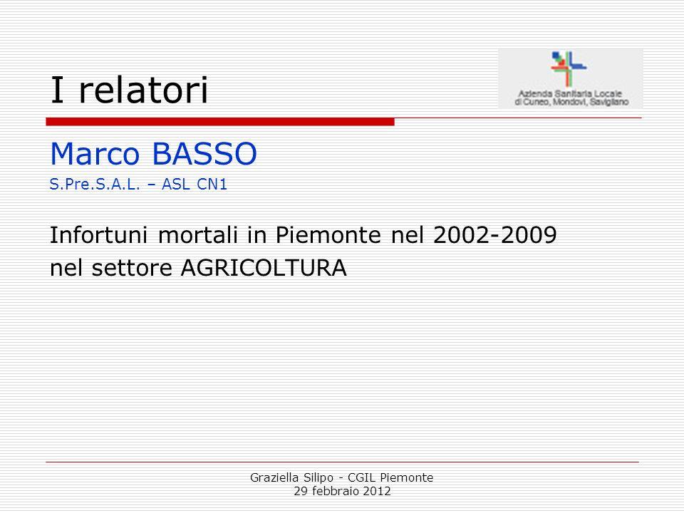 Graziella Silipo - CGIL Piemonte 29 febbraio 2012 I relatori Marco BASSO S.Pre.S.A.L. – ASL CN1 Infortuni mortali in Piemonte nel 2002-2009 nel settor