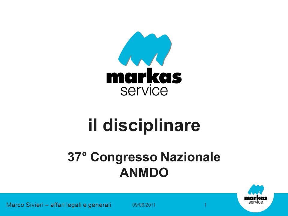 il disciplinare 37° Congresso Nazionale ANMDO 09/06/20111 Marco Sivieri – affari legali e generali