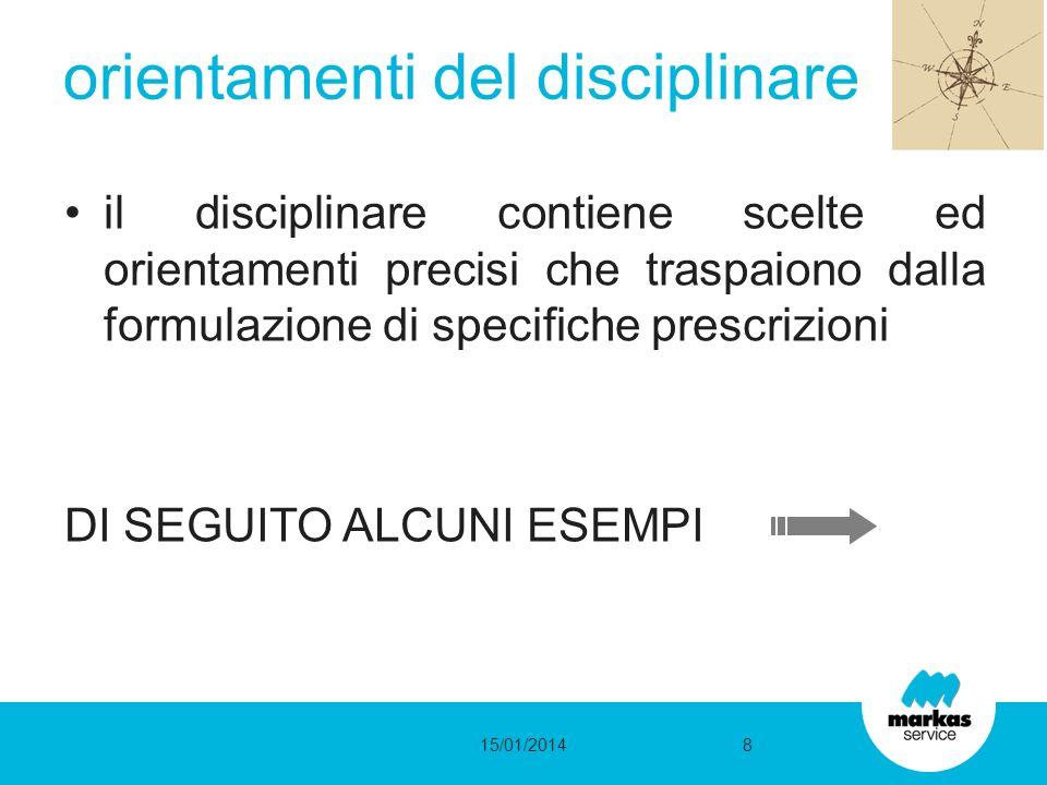 il disciplinare contiene scelte ed orientamenti precisi che traspaiono dalla formulazione di specifiche prescrizioni DI SEGUITO ALCUNI ESEMPI orientamenti del disciplinare 15/01/20148
