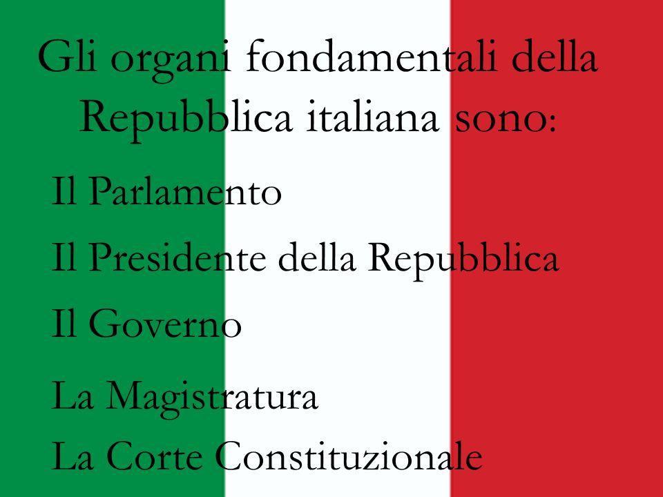 Gli organi fondamentali della Repubblica italiana sono : Il Parlamento Il Presidente della Repubblica Il Governo La Magistratura La Corte Constituzion