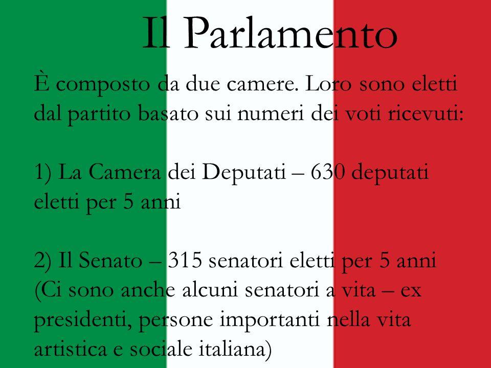 Il Parlamento È composto da due camere. Loro sono eletti dal partito basato sui numeri dei voti ricevuti: 1) La Camera dei Deputati – 630 deputati ele