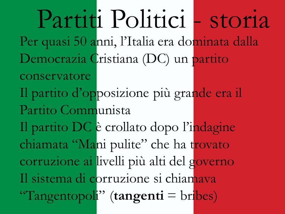 Partiti politici attuali Il Popolo della Libertà – Silvio Berlusconi - conservatore, si chiamava Forza Italia Lega Nord – Umberto Bossi -molto conservatore, voleva la secessione Partito Democratico – Enrico Letti e il capo -Liberale, il partito con piu voti nelle ultime elezioni Italia dei valori - liberale LUnione del Centro - centrista