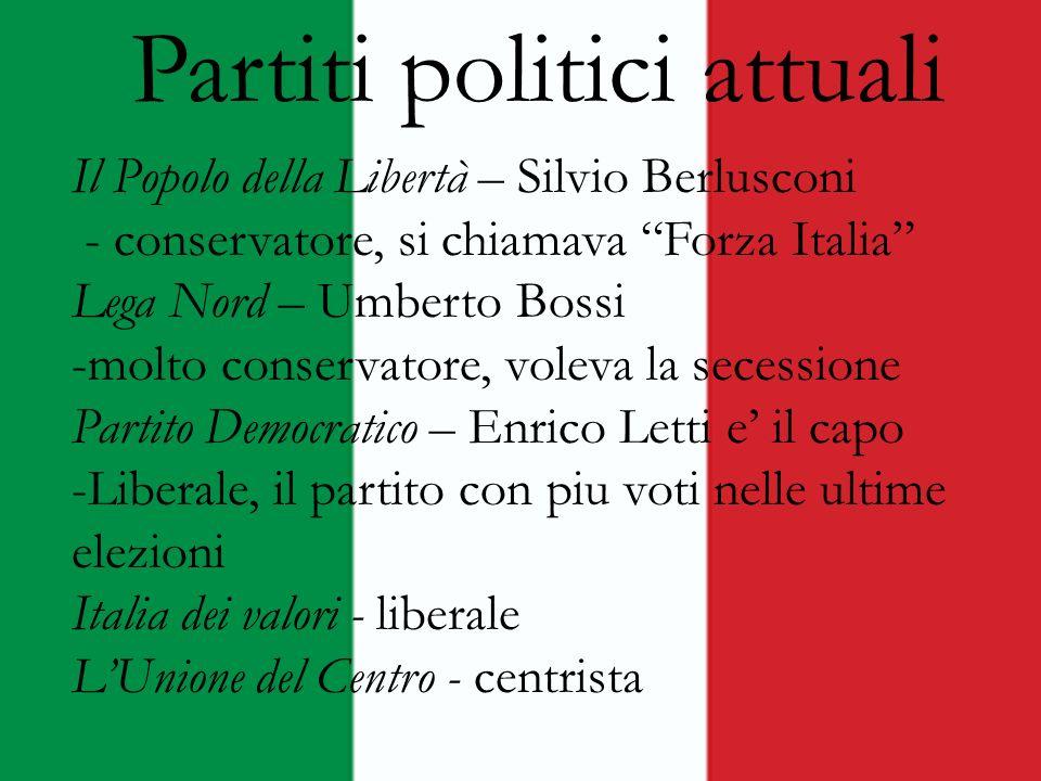 Partiti politici attuali Il Popolo della Libertà – Silvio Berlusconi - conservatore, si chiamava Forza Italia Lega Nord – Umberto Bossi -molto conserv