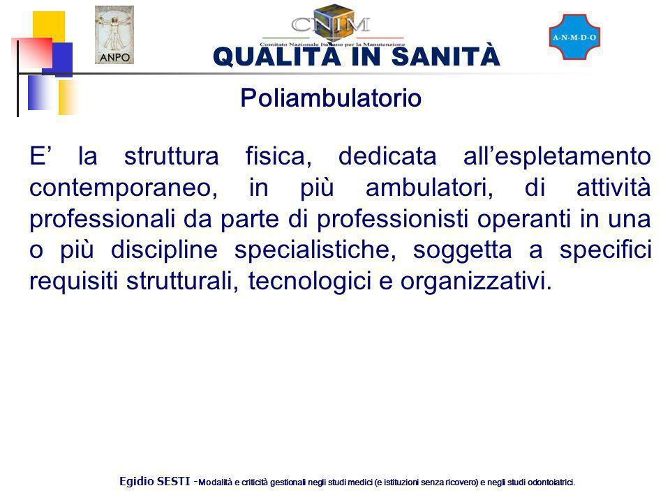 QUALITÀ IN SANITÀ Egidio SESTI - Modalit à e criticit à gestionali negli studi medici (e istituzioni senza ricovero) e negli studi odontoiatrici. Poli