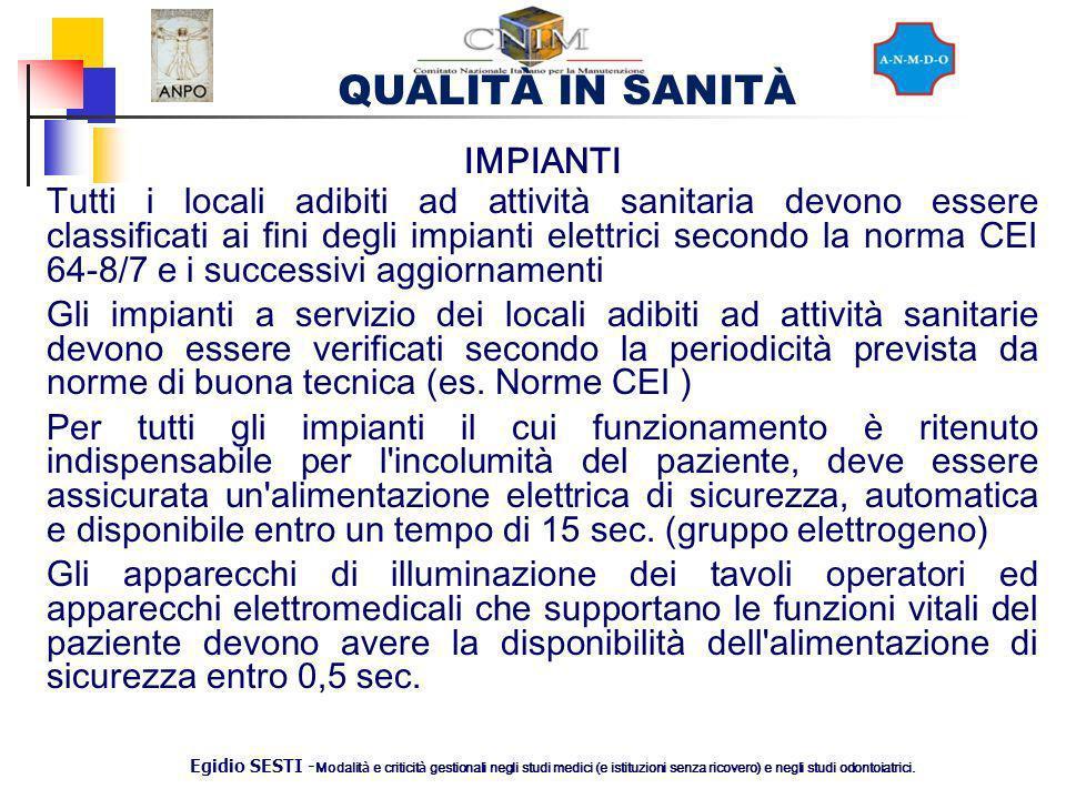 QUALITÀ IN SANITÀ Egidio SESTI - Modalit à e criticit à gestionali negli studi medici (e istituzioni senza ricovero) e negli studi odontoiatrici. IMPI