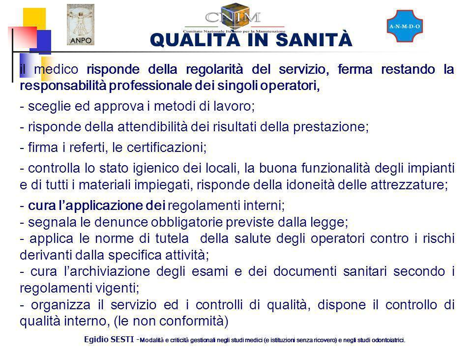 QUALITÀ IN SANITÀ Egidio SESTI - Modalit à e criticit à gestionali negli studi medici (e istituzioni senza ricovero) e negli studi odontoiatrici. il m