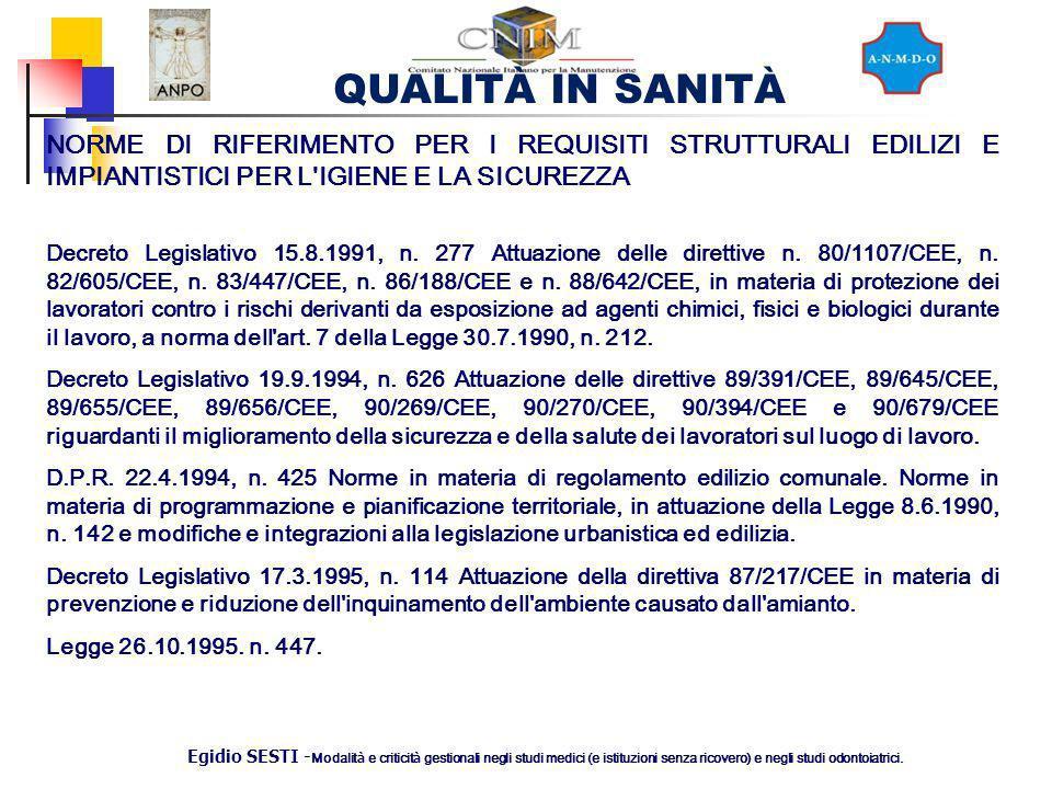 QUALITÀ IN SANITÀ Egidio SESTI - Modalit à e criticit à gestionali negli studi medici (e istituzioni senza ricovero) e negli studi odontoiatrici. NORM