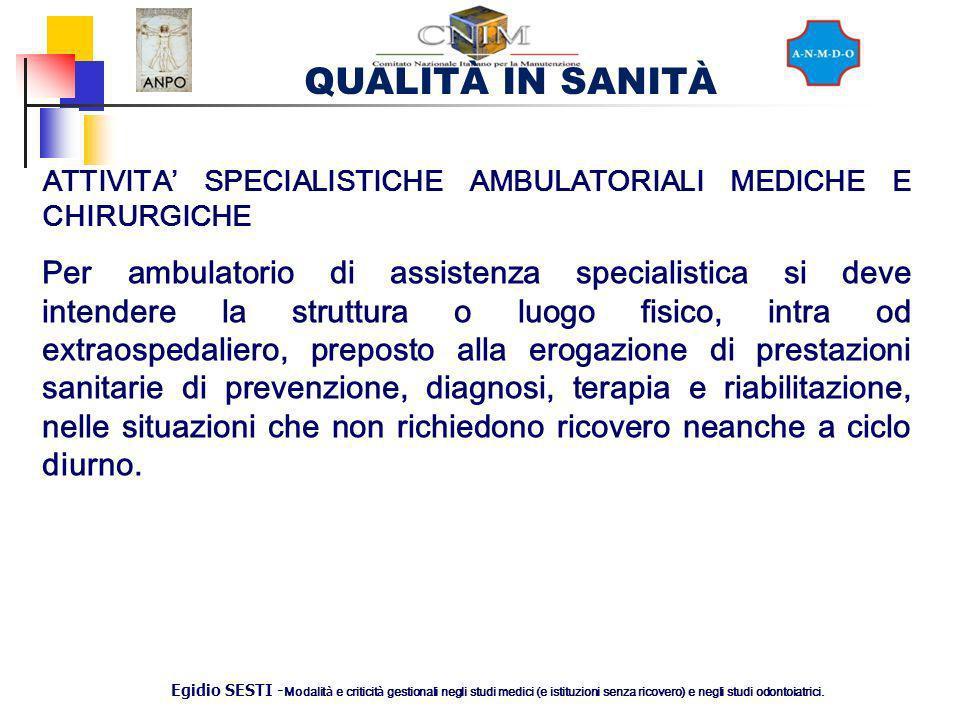 QUALITÀ IN SANITÀ Egidio SESTI - Modalit à e criticit à gestionali negli studi medici (e istituzioni senza ricovero) e negli studi odontoiatrici. ATTI