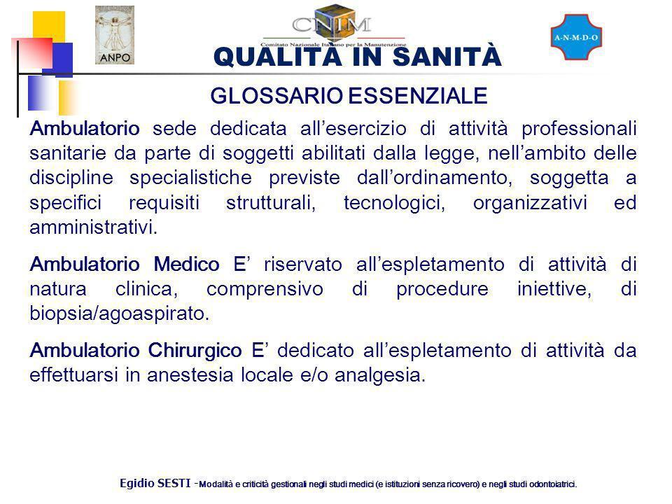 QUALITÀ IN SANITÀ Egidio SESTI - Modalit à e criticit à gestionali negli studi medici (e istituzioni senza ricovero) e negli studi odontoiatrici. Ambu