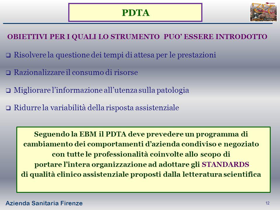 Azienda Sanitaria Firenze 12 Risolvere la questione dei tempi di attesa per le prestazioni Razionalizzare il consumo di risorse Migliorare linformazio