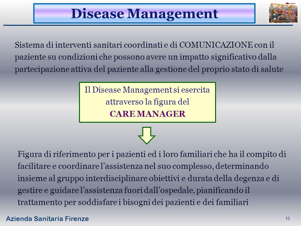 Azienda Sanitaria Firenze 13 Sistema di interventi sanitari coordinati e di COMUNICAZIONE con il paziente su condizioni che possono avere un impatto s
