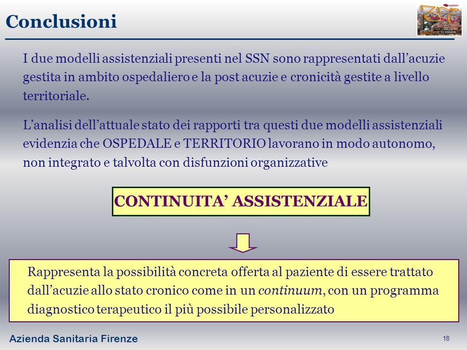 Azienda Sanitaria Firenze 18 Conclusioni I due modelli assistenziali presenti nel SSN sono rappresentati dallacuzie gestita in ambito ospedaliero e la