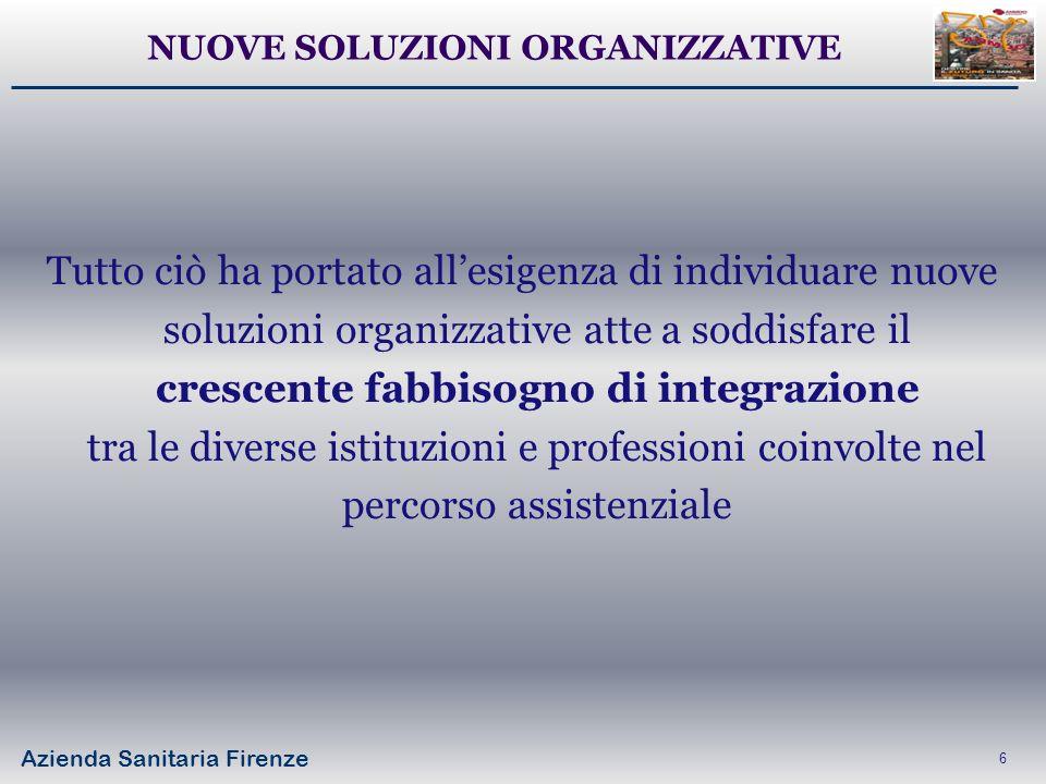 Azienda Sanitaria Firenze 6 Tutto ciò ha portato allesigenza di individuare nuove soluzioni organizzative atte a soddisfare il crescente fabbisogno di