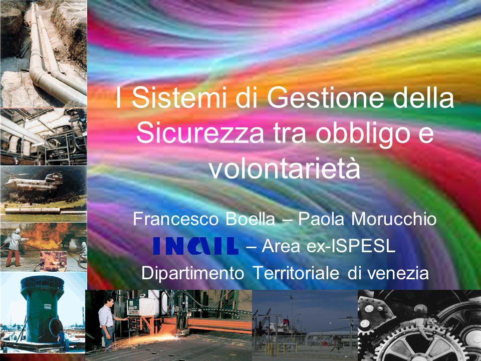 I Sistemi di Gestione della Sicurezza tra obbligo e volontarietà Francesco Boella – Paola Morucchio – Area ex-ISPESL Dipartimento Territoriale di vene
