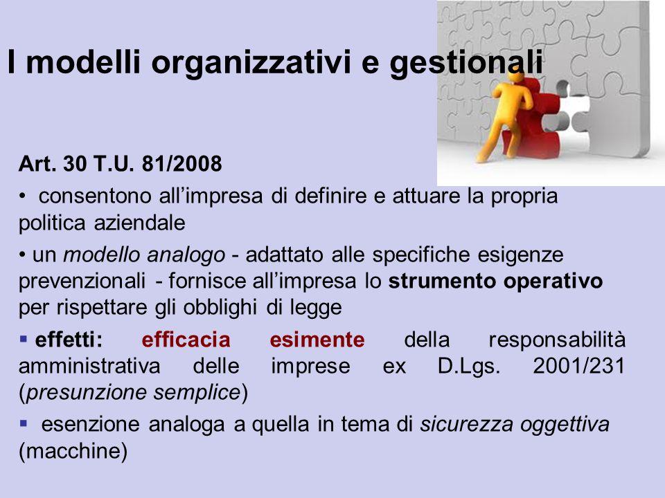 I modelli organizzativi e gestionali Art. 30 T.U. 81/2008 consentono allimpresa di definire e attuare la propria politica aziendale un modello analogo