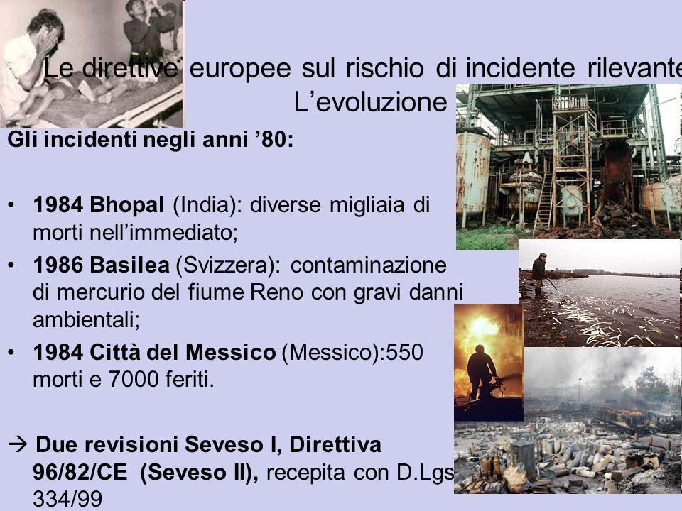 Gli incidenti negli anni 80: 1984 Bhopal (India): diverse migliaia di morti nellimmediato; 1986 Basilea (Svizzera): contaminazione di mercurio del fiu