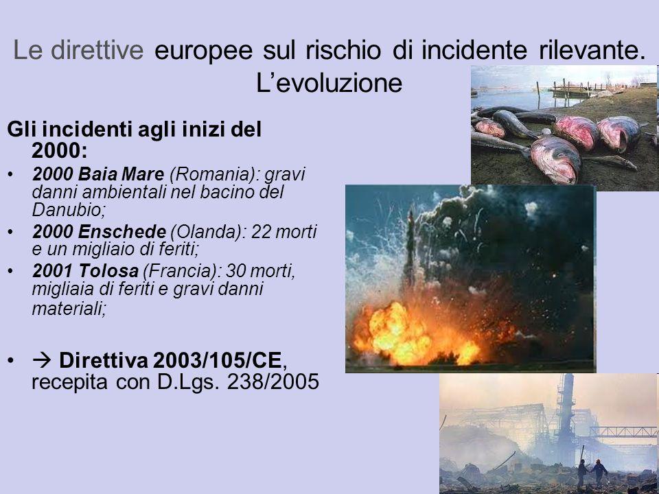 Gli incidenti agli inizi del 2000: 2000 Baia Mare (Romania): gravi danni ambientali nel bacino del Danubio; 2000 Enschede (Olanda): 22 morti e un migl