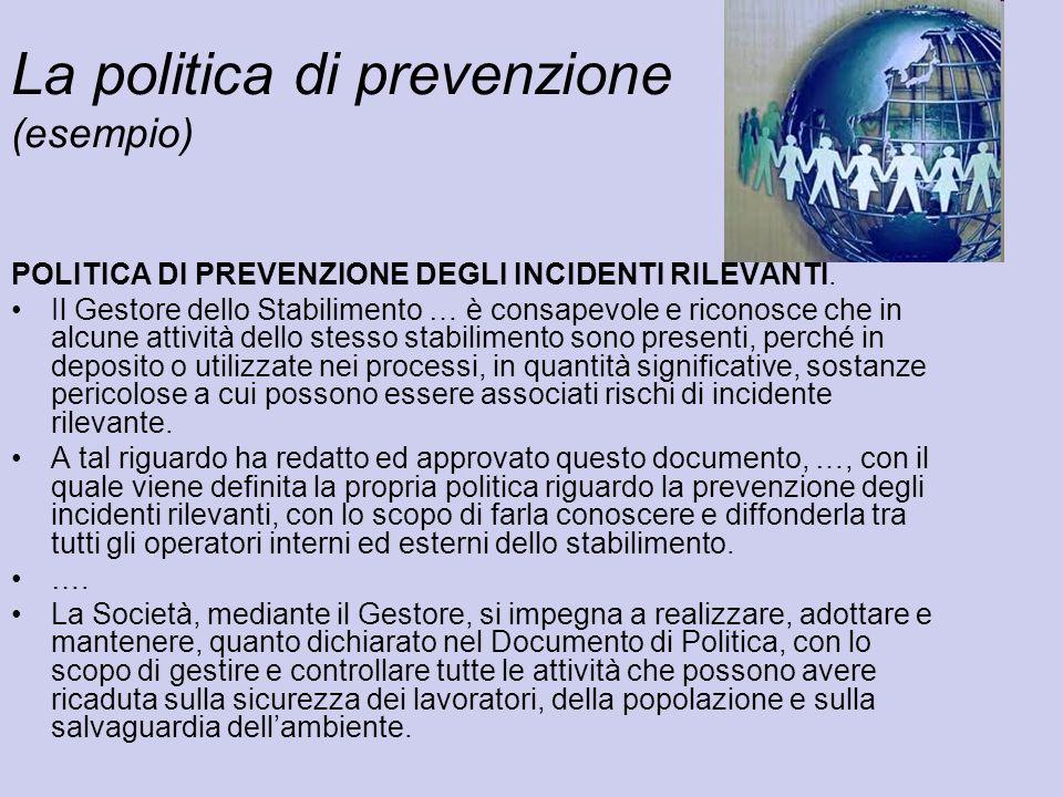 La politica di prevenzione (esempio) POLITICA DI PREVENZIONE DEGLI INCIDENTI RILEVANTI. Il Gestore dello Stabilimento … è consapevole e riconosce che