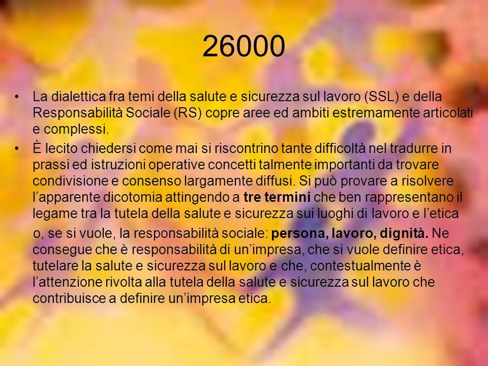 26000 La dialettica fra temi della salute e sicurezza sul lavoro (SSL) e della Responsabilità Sociale (RS) copre aree ed ambiti estremamente articolat
