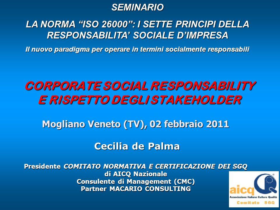 Cecilia de PalmaMogliano Veneto (TV), 02.02.2011 UNI ISO 26000:2010 Guida alla Responsabilità Sociale IL QUARTO PRINCIPIO DELLA RESPONSABILITA SOCIALE Rispetto degli interessi degli stakeholder: Unorganizzazione dovrebbe : 1) IDENTIFICARE i propri stakeholder